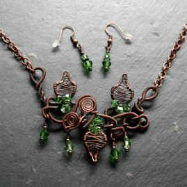 OOAK Handmade Copper Wirework Chaos Vine Necklace And Earrings Set 2a