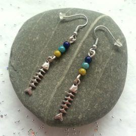 Quirky Beaded Handmade Fishbone Earrings 7