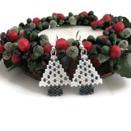 SP Gunmetal & White Christmas Tree Earrings 3