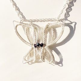 Silver fill 3d butterfly necklace 5