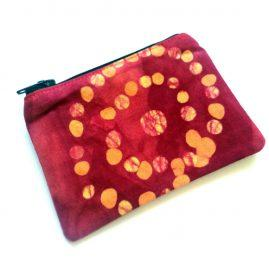Handmade Hand Dyed Spotty Batik Zipped Coin Purse Headphone Pouch 1a