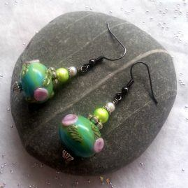 Handmade Lampwork Glass Flower Bead Drop Dangle Earrings 1a