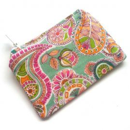Handmade Paisley Flower Zipped Coin Purse Headphone Pouch 1a