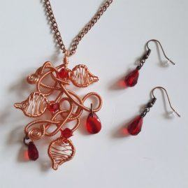 Handmade Wirework Copper Chaos Vine Pendant Set With Red Crystals – Option 1