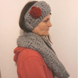 Handmade ear warmers and scarf – main image