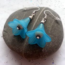 Large Handmade Flower Drop Dangle Earrings In Choice Of Colours – Blue