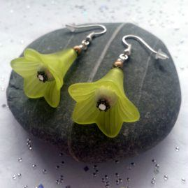 Large Handmade Flower Drop Dangle Earrings In Choice Of Colours – Lime Green