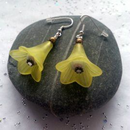 Large Handmade Flower Drop Dangle Earrings In Choice Of Colours – Yellow