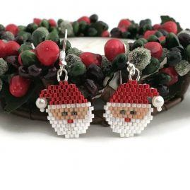 Peyote Father Christmas Earrings 1
