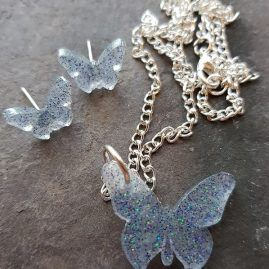 ice butterfly pendants and earring set