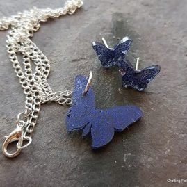midnight butterfly pendant and earrings set