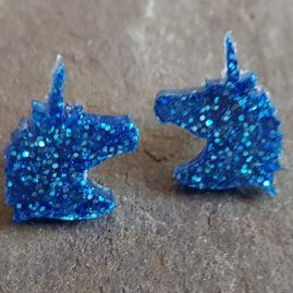 Blue glitter unicorn studs