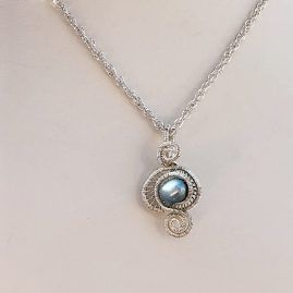 Freshwater pearl silver shell necklace 3