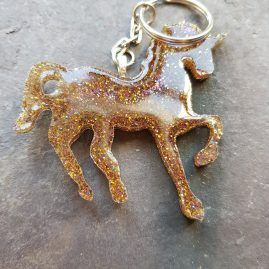 Golden glow unicorn key ring