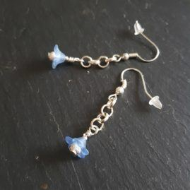 Handmade Small Flower Dangle Drop Earrings In A Choice Of Colours – Pale Blue