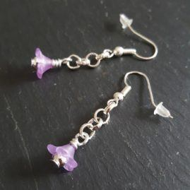 Handmade Small Flower Dangle Drop Earrings In A Choice Of Colours – Purple