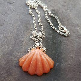 Peach shell necklace
