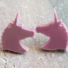 opaque purple unicorn studs