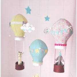 Baby felt hot air balloon animal musical mobile for nursery decor