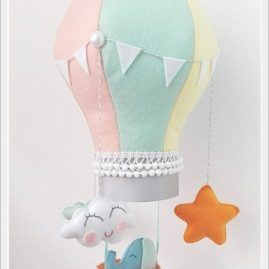 Baby felt hot air balloon musical mobile for nursery decor travel theme