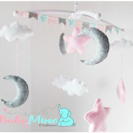 Baby felt moon star cloud musical mobile for nursery decor