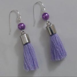 Lilac tassel earring with pearlised bead