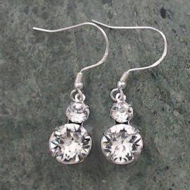 Swarovski Clear Crystal, 2 Stone Drop Earrings