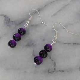 Three bead purple earrings
