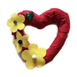 Felt Flower Heart Shaped Wreath (Medium)
