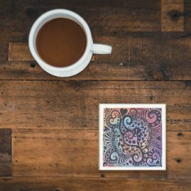 Glass Coaster With My Original Art – All You Need Is Love