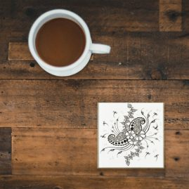 Glass Coaster With My Original Art – Henna Inspired Doodle