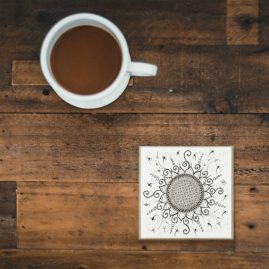 Glass Coaster With My Original Art – Sunny Flower Doodle