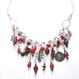 Handmade Red Wirework Waterfall Charm Necklace 1a