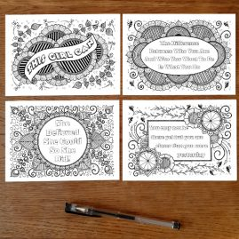 Set Of 4 Colouring In Postcards With Motivational Positive Quote Set 1a