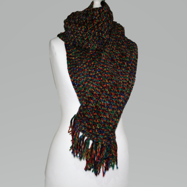 Chunky Rustic Hand Crocheted Scarf End Of Season Special Conscious