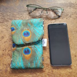 Handmade Padded PhoneGlasses Case With Peacock Feather Fabric 1a