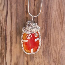 OOAK Handmade Orange Fused Glass And Wirework Pendant Necklace 1a