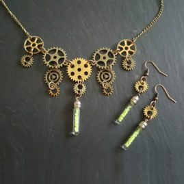 OOAK Handmade Steampunk Cogs Necklace Set With Glow In The Dark Vials 1a
