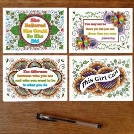 Set Of 4 Postcards With My Art Plus Motivational Positive Quote Set 1
