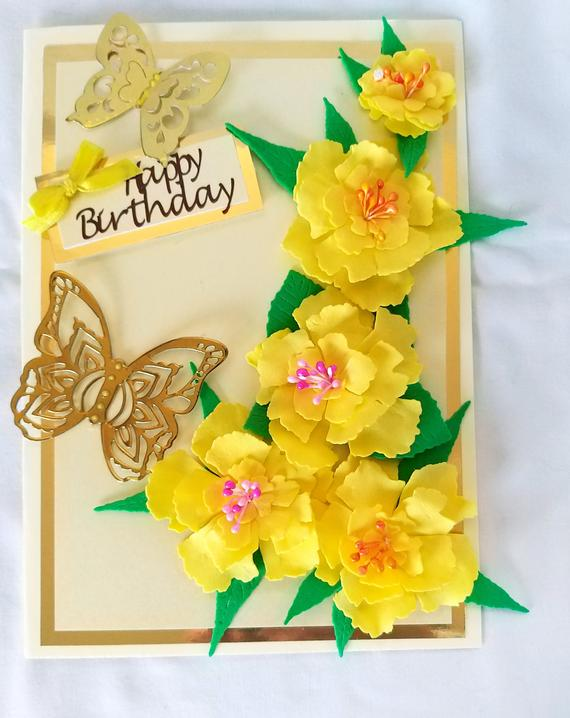 Yellow Flower Handmade Birthday Cards For Ladies