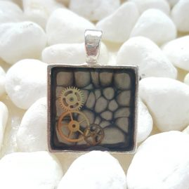 OOAK Handmade Hand Painted Square Black Steampunk Cogs Resin Pendant 1