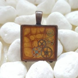 OOAK Handmade Hand Painted Square Yellow Steampunk Cogs Resin Pendant 1