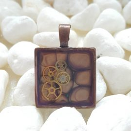 OOAK Handmade HandPainted Square Purple Steampunk Cogs Resin Pendant 1