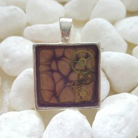 OOAK Handmade HandPainted Square Purple Steampunk Cogs Resin Pendant 2