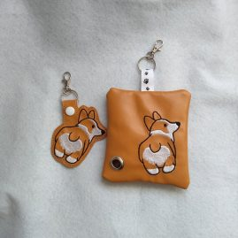 corgi dog poo bag and keyring