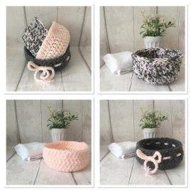 collage of pink, cream and brown bowls