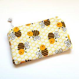 Cute Bees Honey Bee Handmade Zipped Purse Coin Purse Headphone Pouch 1a