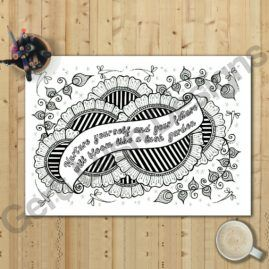 A4 Mindfulness Colouring Poster for Adults With Positivity Quote 1