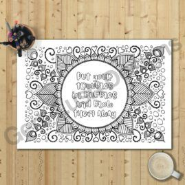 A4 Mindfulness Colouring Poster for Adults With Positivity Quote 3