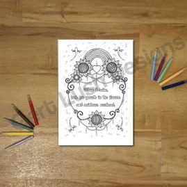 A4 Mindfulness Colouring Poster for Adults With Positivity Quote 5